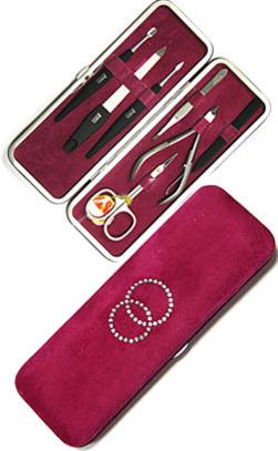 Маникюрный набор Mertz Solingen A 9742 RFSW (бордовый) ( 7 предметов)