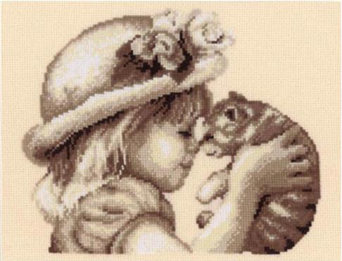 """Набор для вышивания Vervaco """"Девочка с котёнком"""" 2002-75012"""