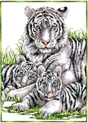 """Набор для вышивания DESIGN WORKS """"Белые тигры"""" 9857"""