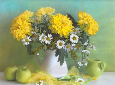 Набор для вышивания лентами Матренин посад Желтые хризантемы 7004