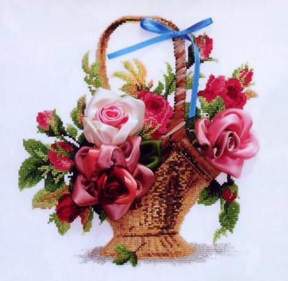 Набор для вышивания лентами Чарiвна Мить Корзина с розами Л-009