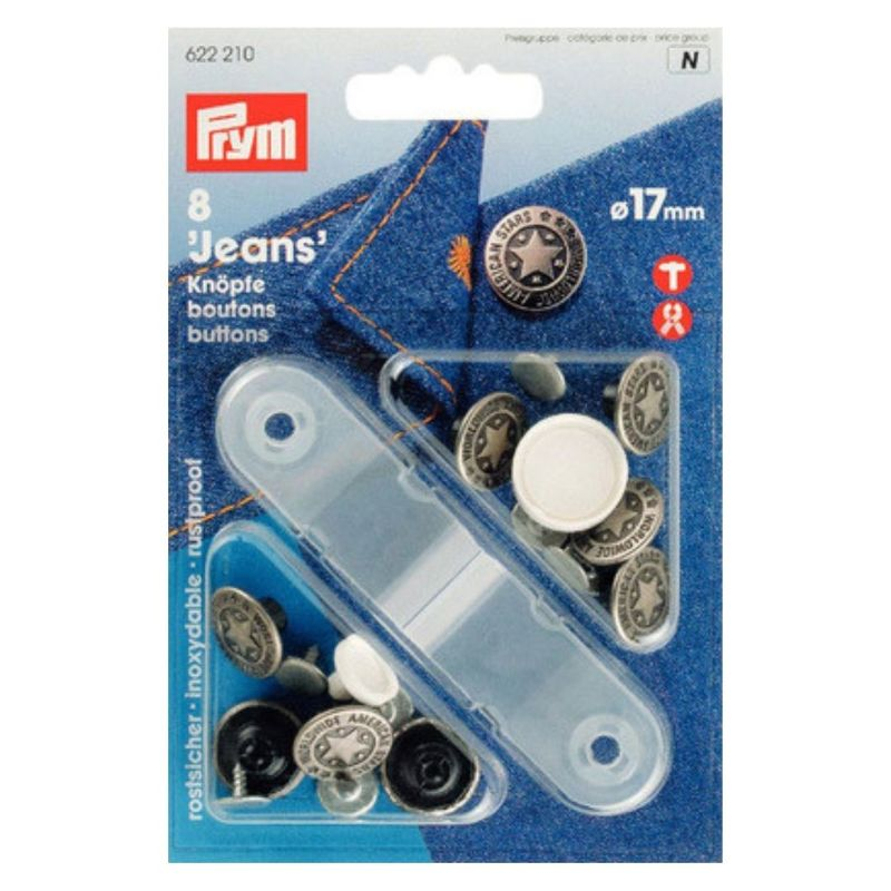 Джинсовые кнопки-пуговицы Prym нержавеющие, 17мм, состаренное серебро, арт. 622210