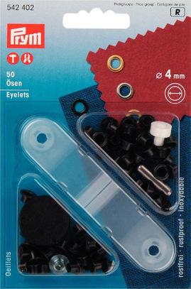 Блочки для ремня Prym нержавеющие, латунь, 4мм, черный, арт. 542402