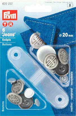 Джинсовые кнопки-пуговицы Prym нержавеющие, 20мм, состаренное серебро, арт. 622237