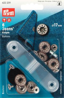 Джинсовые кнопки-пуговицы Prym нержавеющие, 17мм, состаренная латунь, арт. 622239