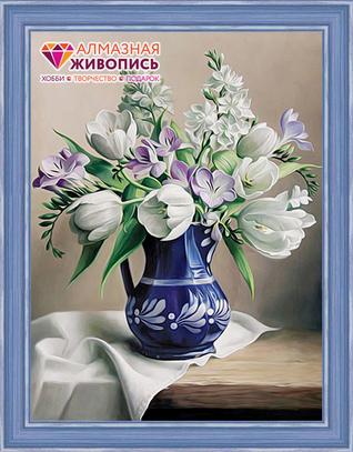 """Картина стразами (набор) """"Белые тюльпаны"""""""