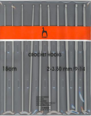 Набор вязальных крючков Pony 2.00-3.50 15см 10 шт. арт. 45220