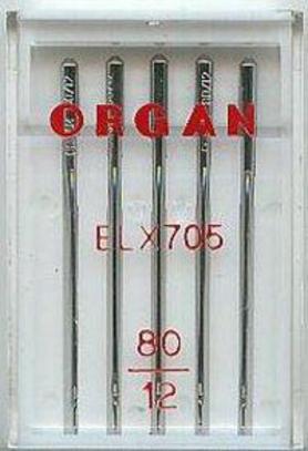 Иглы Organ для оверлоков и распошивальных машин №80 (5 шт.)