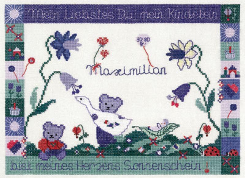 """Набор для вышивания """"Мишки с синими цветами"""" 25,5*17,5см, Acufactum Ute Menze, Германия"""
