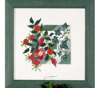 """Набор для вышивания """"Дикая роза на зеленом фоне"""" 13*14см, Acufactum Ute Menze, Германия"""