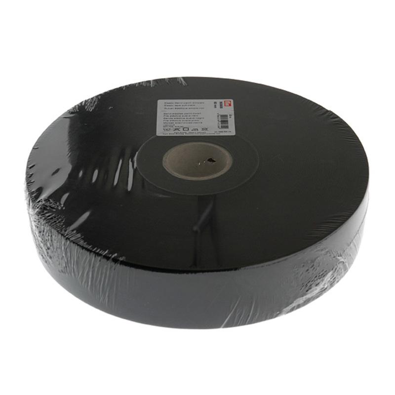 955608 Эластичная лента-мягкая(резинка), 50м, 60мм, черная, 76%пол, 24%эл, руллон