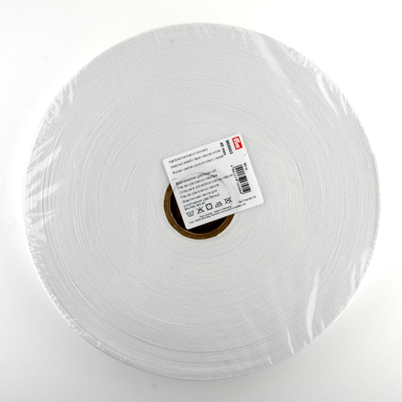 Эластичная лента-с дорожкой д/шва (резинка), 50м, 40мм, белая, 83%пол, 17%эл, руллон