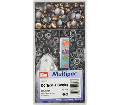 Кнопки Спорт и Кемпинг д/тяжелых тканей, латунь, нержавеющие, 15мм, черный, 100шт в упаковке