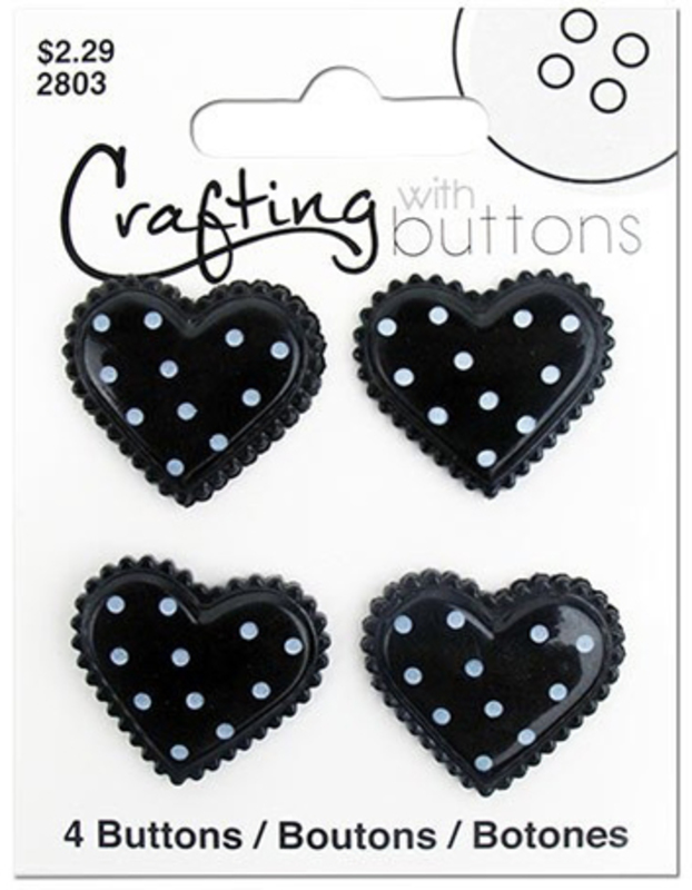 "ПУГОВИЦЫ ""BLACK & WHITE"" POLKA DOT HEART"