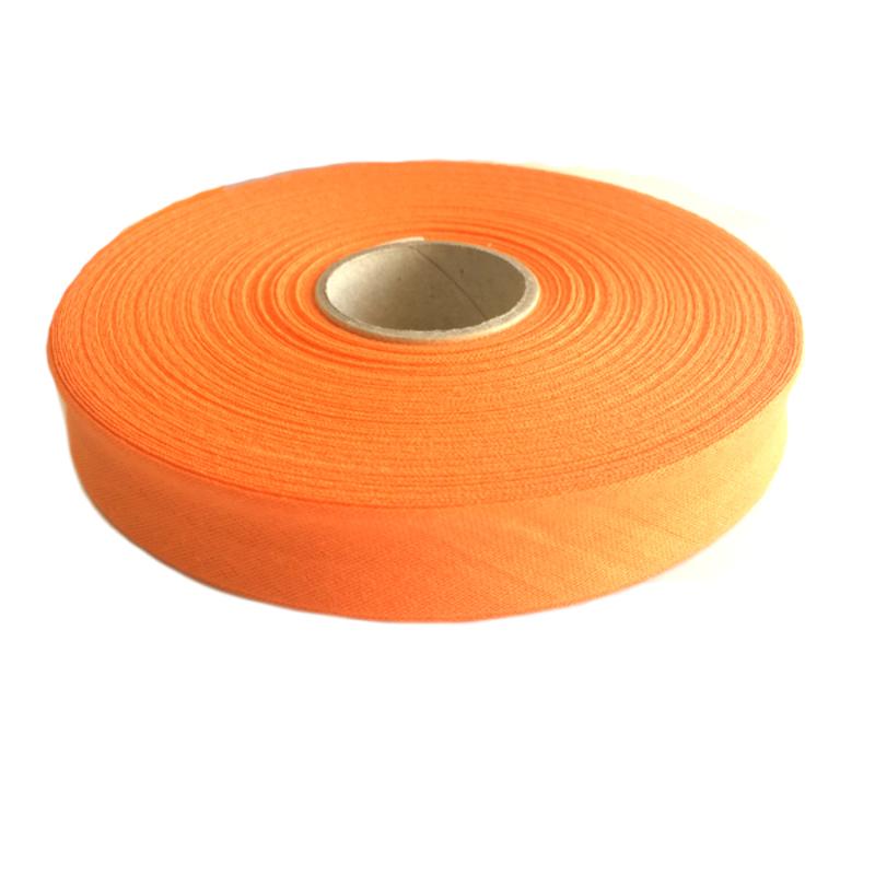 Косая бейка, хлопок, 40/20 мм оранжевый, 30м в упаковке