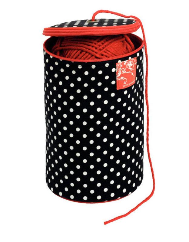 "Футляр для пряжи ""Polka dots"" диаметр 14,5см, высота 21,5см"