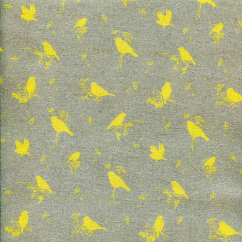 """Ткань """"Желтые птички"""", ширина 155см, Acufactum Ute Menze, Германия"""