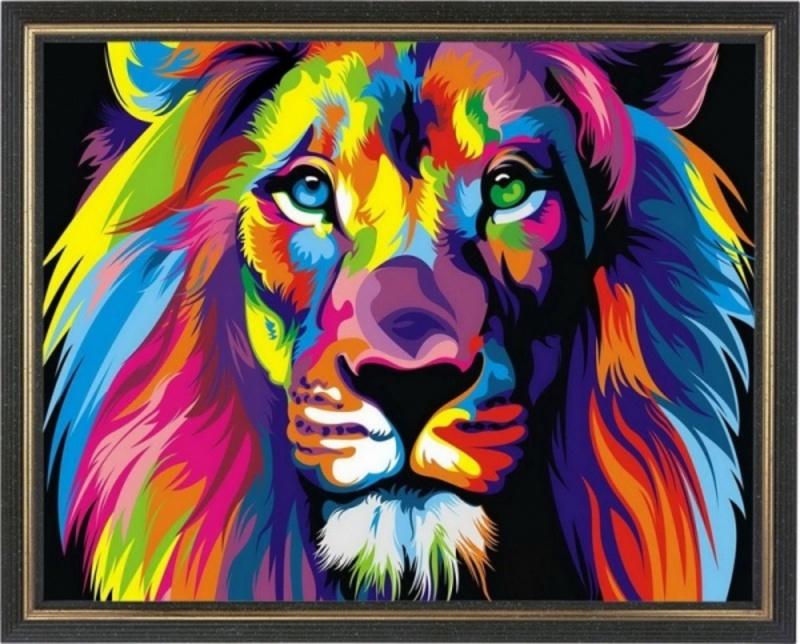 Радужный лев - картина со стразами