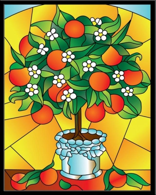 Апельсиновое дерево - картина - витраж