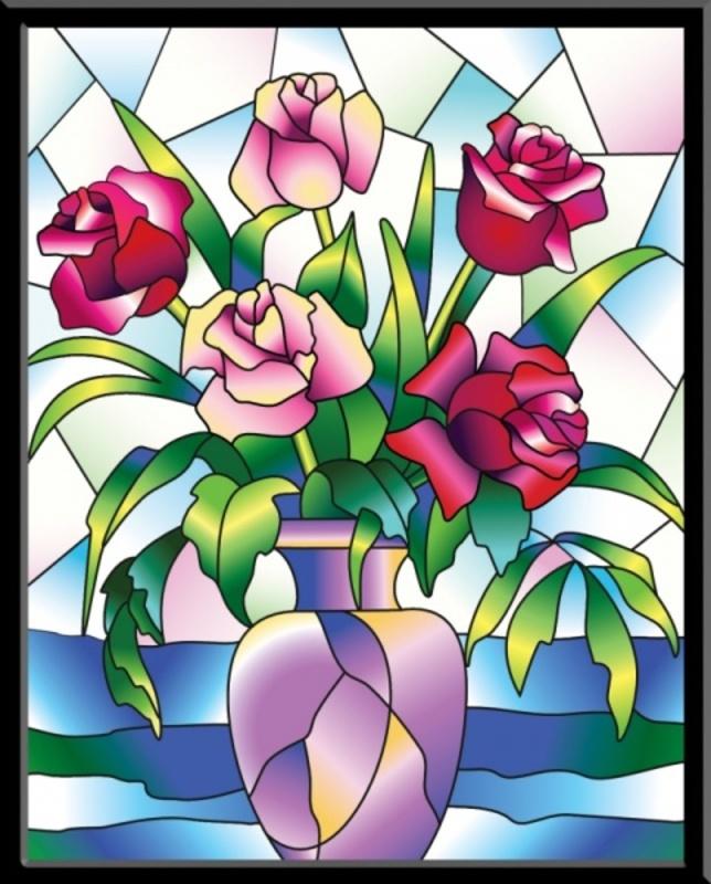 Розы - картина-витраж