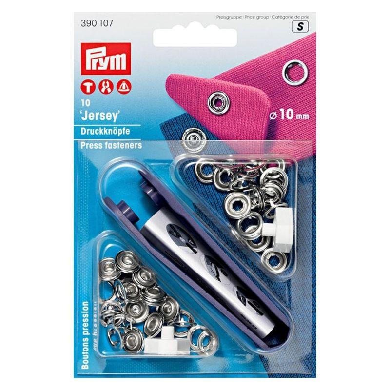 "Кнопки ""Джерси"", форма ""Кольцо"", диаметр 10мм, латунь, серебристый, 10шт в упаковке, Prym, 390107"