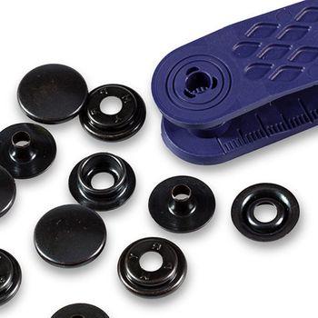 """Кнопки """"Спорт & Кэмпинг"""", диаметр 15мм, латунь, черный, 10шт в упаковке, Prym, 390200"""